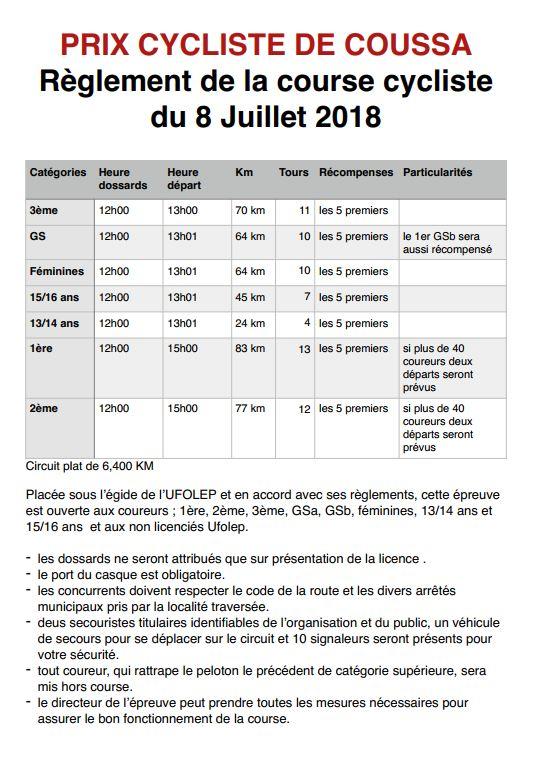 règlement course de Coussa 2018